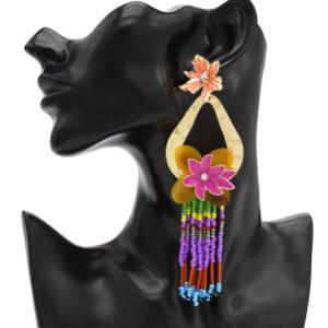 Big Fashion Gold Metal Women Flower Shape Rhinestone Drop Earring Wedding Party Jewelry