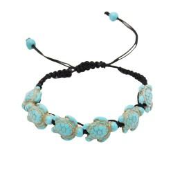 B-0896 New Bohemian Turquoise Turtle Bracelet Hand Knit Bracelet
