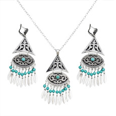 N-7074 Fashion Bohemian Necklace Earrings Jewelry Sets Silver Beads Small Leaves Tassels Pendant Necklace Earring