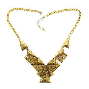 N-1786 Punk Vintage Style Chunky Special Hammered Geometry Choker Bib Collar Necklace