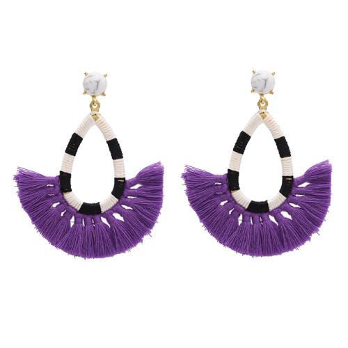E-4690 Bohemian  Thread Tassels Turquoise Beads Long Tassel Drop Earrings
