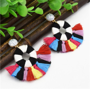 E-4696 Trendy Bohemian Thread Tassels Turquoise Beads Summer Earring Jewelry Design