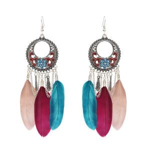 E-4689 Bohemian Vintage Silver Feather Pendant Drop Dangle Earrings Hook Earring