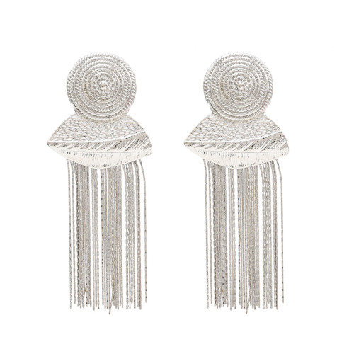 E-4684 European Gold Silver Plated Round Button Shape Tassel Earrings