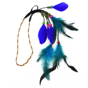 F-0494 Bohemian Handmade Ethnic Gypsy Wood Beads Feather Hairband Hair Clip Hair Jewelry