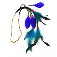 F-0494 Bohemian Handmade Ethnic Gypsy Wood Beads Feather Hairband Hair Clip Hair Jewelry