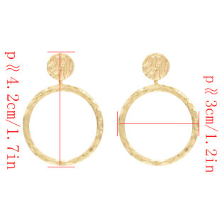 E-4679 Fashion Gold Metal Round Circle Drop Earrings for Women Bohemian Wedding Party Jewelry