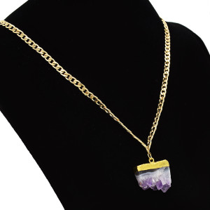 N-5411 2018 Fashion Rock Long Gold Chain Pendant Necklace Natural Stone Purple Crystal Necklaces For Women Jewelry