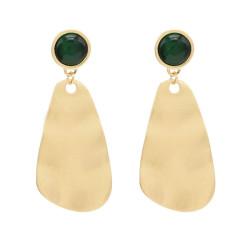 E-4681 European Green Faux Gemstone Gold Plated Geometric Drop Earrings