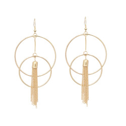 E-4682 Double Round Tassels Fashion Ear Hook Earring for Women