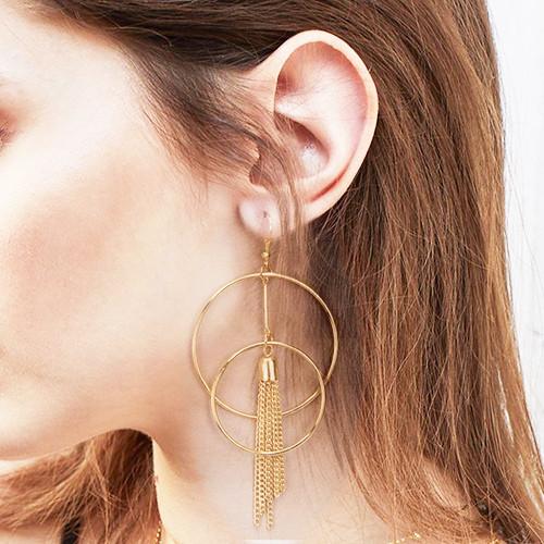 E-4682 Double Round Tassels Fashion Ear Hook Earring for Women