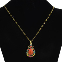 N-2365 New Fashion Long Bronze Chain Colorful Stone Pendant Vintage Necklace For Women