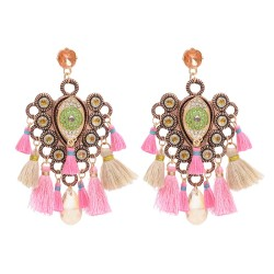 E-4701 New national style tassel earrings alloy crystal Evil Eye hot earring jewelry