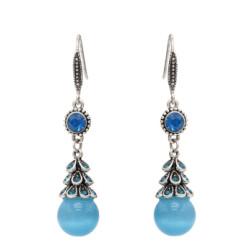 E-4704 Vintage Silver Metal Rhinestone Acrylic Beads Drop Earrings for Women Boho Wedding Party Jewelry