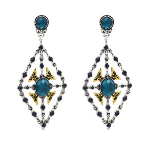 E-4700 Bohemian Hollow Big Diamond Shape Pendant Drop Earrings Stud Earring Wedding Bridal Ear Jewelry