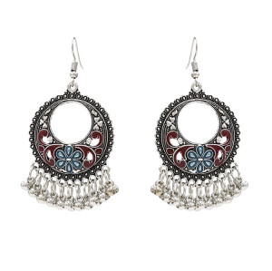 E-4717 4 colors Bohemian Vintage Silver Enamel Flower Ball Tassel Dangle Earrings