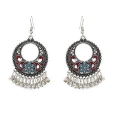 E-4717 4 colors Bohemian Vintage Silver Enamel Flower Ball Tassel Dangle Earrings