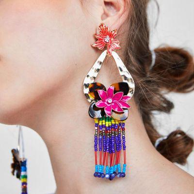 E-4692 Big Fashion Gold Metal Women Flower Shape Rhinestone Drop Earring Wedding Party Jewelry