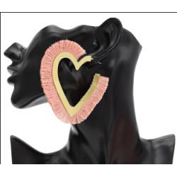 E-4716 Ethnic Heart Shape Cotton Thread Tassel Drop Earrings for Women Boho Wedding Party Jewelry