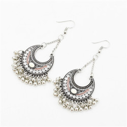 E-4713 4 Colors Bohemian Vintage Silver Enamel  Ball Tassel Dangle Earrings Jewelry Design