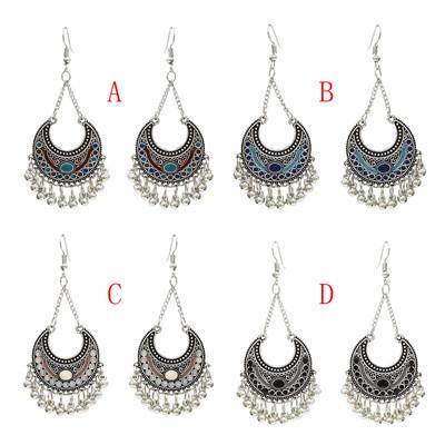 E-4713 4 Colors Bohemian Vintage Silver Enamel  Ball Tassel Dangle Earrings Jewelry Design