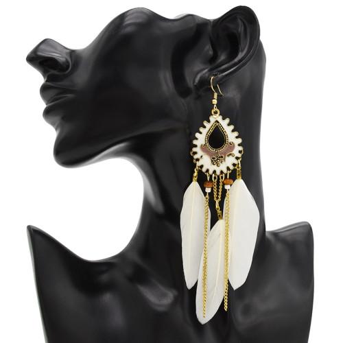 E-4712 Bohemian Vintage Gold Feather Pendant Tassels Drop Dangle Earrings Hook Earring