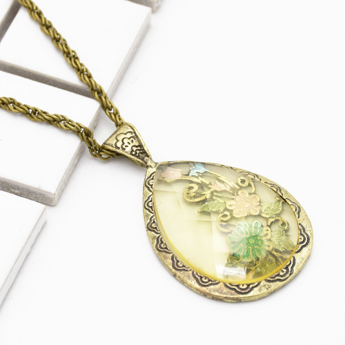 N-2267 New Fashion Vintage Style Flower Dripping pendant necklace