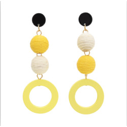 E-4709 2 colors Korean Personality Drop Earrings Thread Wrapped Crispin Thread Ball Bon Bon Ball Pom Pom Ball  Wood Circles Pendant Dangle Earrings Women Party Jewelry