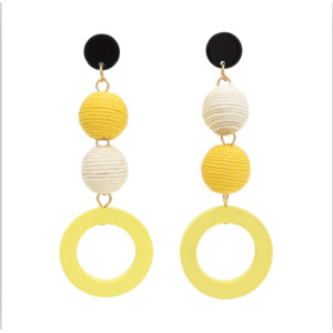 E-4709 2 colors Korean Personality Drop Earrings Thread Wrapped Crispin Thread Ball Bon Bon Ball Pom Pom Ball  Wood Circles Pendant Dangle Earrings Women Party Jewelry