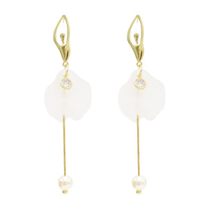 E-4708 Fashion Ballet Girl Long Pearl Zircon Drop Earrings Fringe Earrings