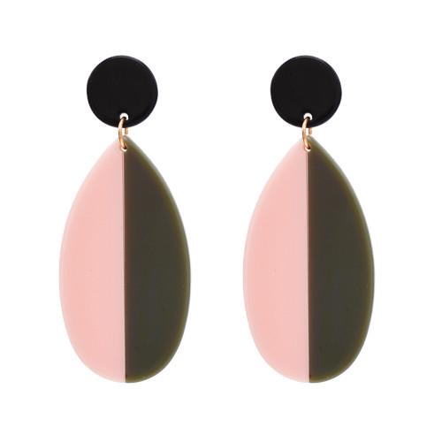 E-4711 Trendy Bohemian Style Resin Drop Double Colors Ear Stud Earrings For Women