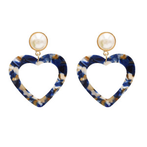 E-4710 Korean Style Gold Plated White Faux Pearl Big Acrylic Heart Drop Earrings