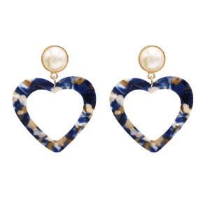 E-4710 Korean Style Gold Plated White Faux Pearl Big Acrylic Heart Drop Earrings