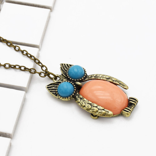 N-2512 New fashion vintage style Bronze Owl pendant necklace