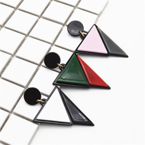 E-4714 3 Colors Trendy Triangle Color Patchwork  Acrylic Drop Earrings For Women