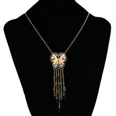 N-2586 New Cute Lovely Sweet Enamel butterfly Golden Metal beads Tassel Pendant Necklace
