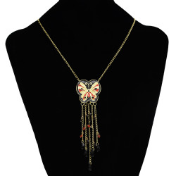 N-2586 New Cute Lovely Sweet Enamel butterfly Golden Metal beads Tassel Pendant Necklace
