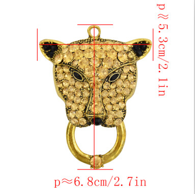 N-7080 2 Colors New Design Luxurious Pendant Necklace  81 Granules Crystal Rhinestone Puma Leopard  Golden Pendant Necklaces Women Party Jewelry