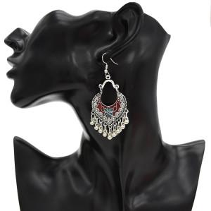 E-4724 3 Colors Bohemian Vintage Silver Enamel  Ball Tassel Dangle Earrings Jewelry Design