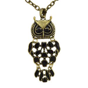 N-2554 New Coming Bronze Black Glazed Owl Pendant Necklace