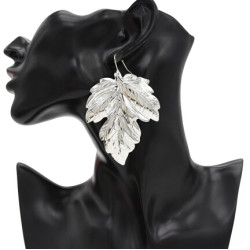 E-4721 Fashion Silver Gold Metal Big Leaf Drop Earrings for Women Boho Wedding Party Jewelry