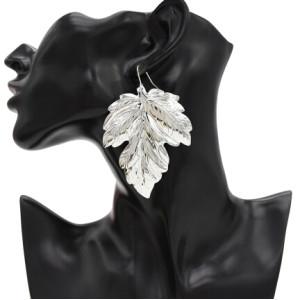 E-4721 Fashion Silver Gold Metal Big Leaf Drop Earrings for Women Boho Wedding Party Jewelry