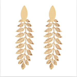 E-4722 Fashion Silver Gold Metal Big Leaf Long Drop Earrings for Women Boho Wedding Party Jewelry