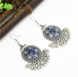 E-4728 4 Colors Bohemian Vintage Silver Enamel  Ball Tassel Dangle Earrings Jewelry Design