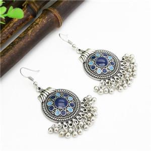 E-4728 4 Colors Bohemian Vintage Silver Enamel  Ball Tassel Dangle Earrings Jewelry Design