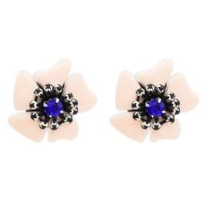 E-4725 Light Pink Enamel Acrylic Petal Flower Stud Earring Rhinestone Crystal Earrings