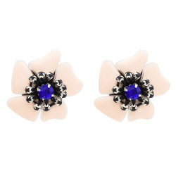 E-4725 Light Pink Enamel Acrylic Petal Flower Stud Earring Rhinestone Crystal Earrings