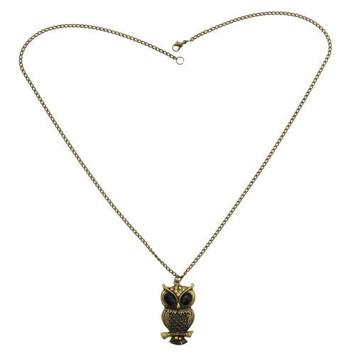 N-2553  Vintage Style Rhinestone Bronze Owl Pendant Necklace