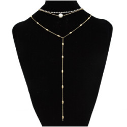 N-7076 New Fashion Korean Gypsy Multilayer Choker Necklace Rhinestone Pearl Shiny Crystal Link Chains  Pendant Necklace