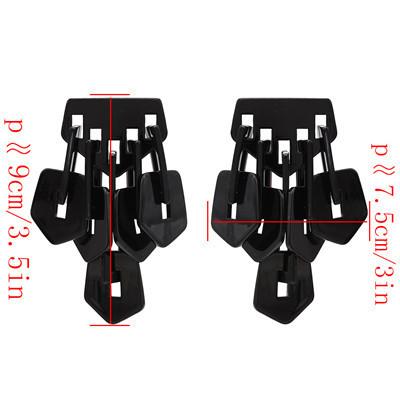 E-4727 2 Colors Square Shape Enamel Tassel Elegant Trendy Earring For Women